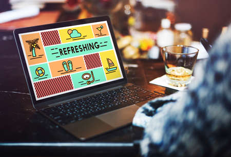 refreshment: Refreshing Refreshment Renew Rethink Restart Concept