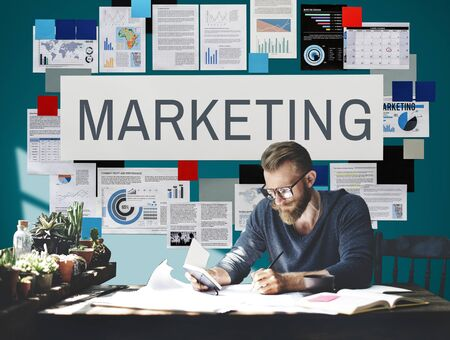 place of research: Marketing Branding Business Commercial Design Concept Stock Photo