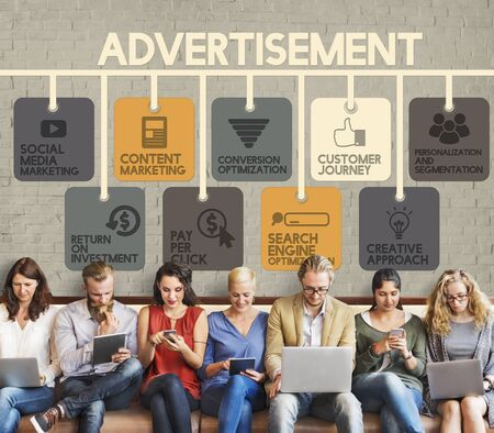 marketing online: Advertisement Online Marketing Commerce Concept Stock Photo