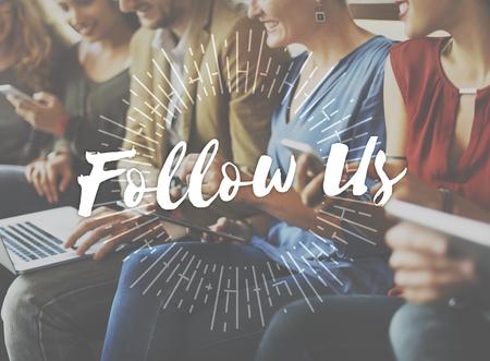 Follow Us Sharing Social Media Networking Internet Online Concept