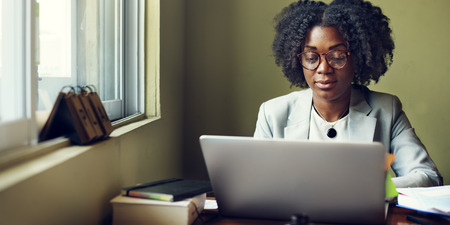 woman laptop: Woman Working Busy Office Concept