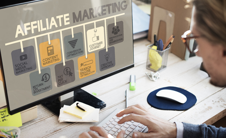 Affiliate Marketing Advertising Commercial Concept Imagens