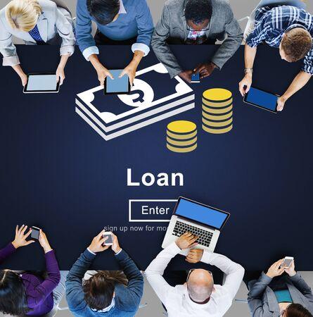 loaning: Loan Banking Capital Debt Economy Money Borrow Concept