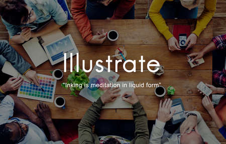 illustrate: Illustrate Drawing Paitning Adorn Illuminate Concept Stock Photo