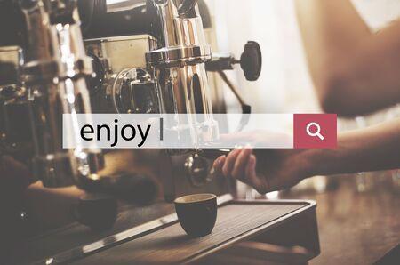 pleasurable: Enjoy Happiness Satisfaction Pleasurable Concept Stock Photo