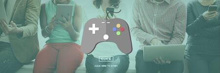 geeky: Gaming Play Controller Media Concept Stock Photo
