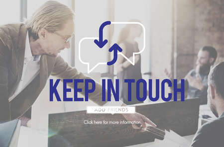 Keeping in touch concept with background