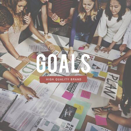 goal oriented: Goals Business Creative Ideas People Graphic Concept Stock Photo