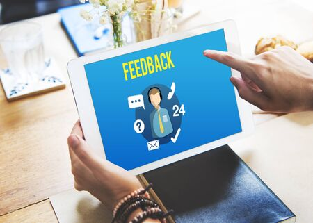 customer support: Feedback Evaluation Review Contact Customer Support Concept Stock Photo
