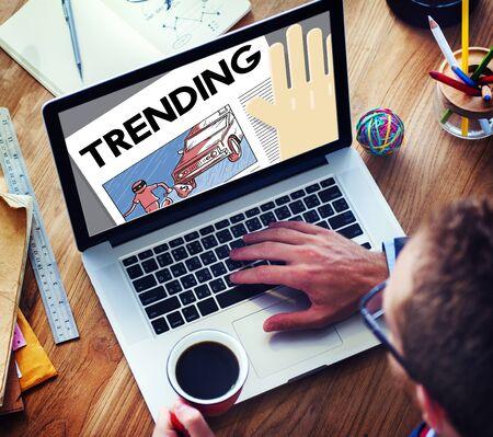 trending: Update Trending Breaking News Report Information Concept Stock Photo
