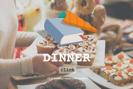 diner: Dinner Diner Mene Food Concept Stock Photo