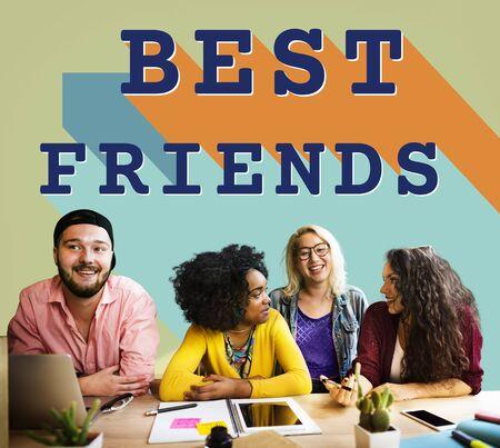 friendliness: Concepto de los mejores amigos de becas relación juntos de conexión
