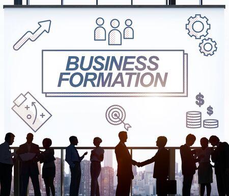 Formation d'affaires réseau cible Icônes Concept graphique