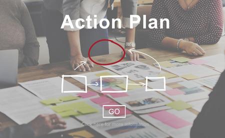 Las tácticas de acción Planificación Plan de Estrategia visión del concepto Objetivo Foto de archivo
