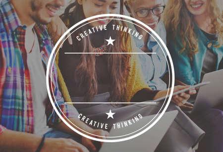 creative thinking: Badge Logo Creative Thinking Concept Stock Photo