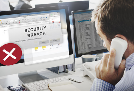 Security Breach Cyber Attack Computer Crime Password Concept Stock Photo