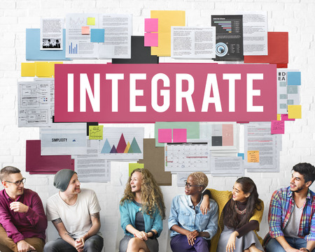 merging together: Integrate Combine Equality Immigration Merge Concept Stock Photo