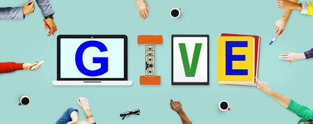 give: Give Donations Aid Charity Design Word Concept Stock Photo