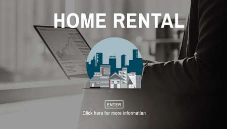 small business computer: Home Rental House Property Rent Concept Stock Photo