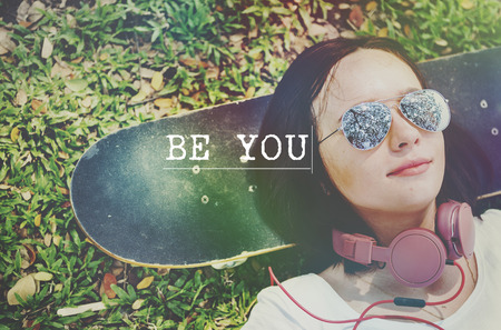 Be Yourself Self Esteem Confidence Optimistic Concept Banco de Imagens - 60155457