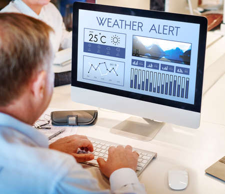 meteorology: Weather Condition News Report Climate Forecasting Meteorology Temperature Concept