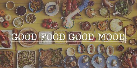 comida rica: Comer, beber, disfrutar de una buena Food Concept