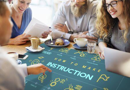 Instruction Document Guidebook Handbook Help Concept Stock Photo