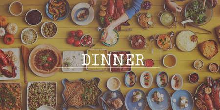 british cuisine: Reataurant Dinner Brunch Lunc Catering Concept Stock Photo