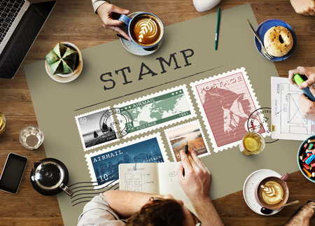direct mail: Postal Postage Mail Package Stamp Concept Stock Photo