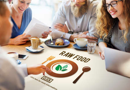 meet up: Raw Food Eating Healthy Lifestyle Concept Stock Photo