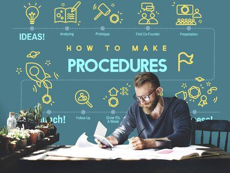 techniek: Procedures Actie Aanpak Proces Techniek Concept Stockfoto