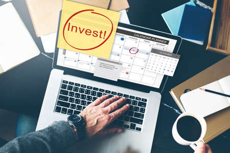 finance concept: Invest Assets Finance Budgeting Schedule To Do Concept Stock Photo