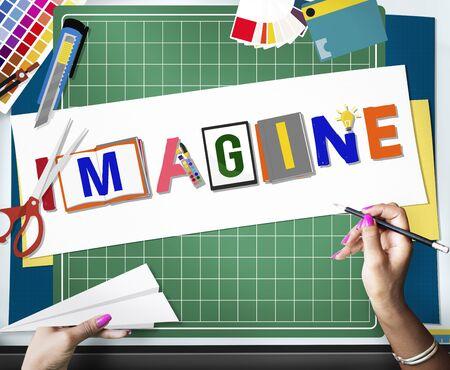 to imagine: Imagine Planning Creative Imagination Concept Stock Photo