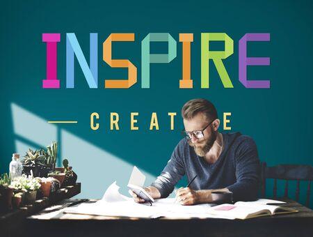 believe: Inspire Hopeful Believe Aspiration Vision Innovate Concept Foto de archivo