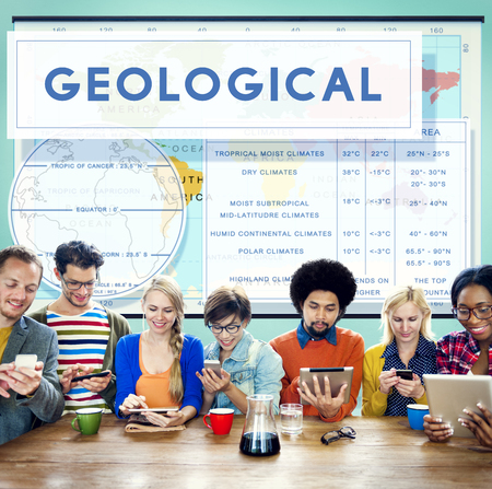 geological: Continents Coordinates Exploration Geological Cartography Concept