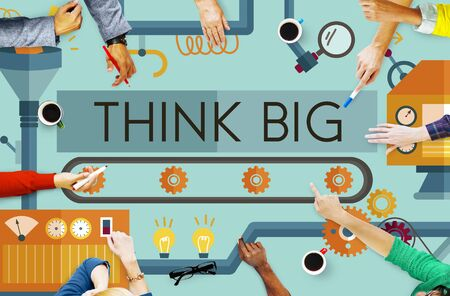 proceed: Think Big Analysis Attitude Planning Success Concept