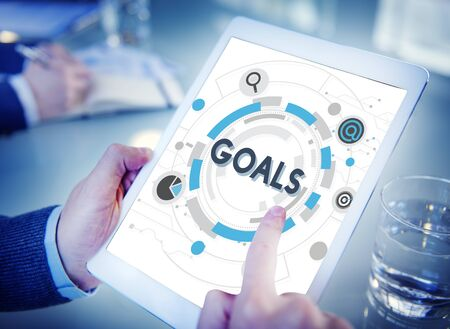 Goals Mission Target Hud Aspiration Concept Stockfoto