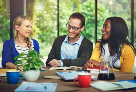 school strategy: Group Thinking Discussion Study Reading Concept Stock Photo