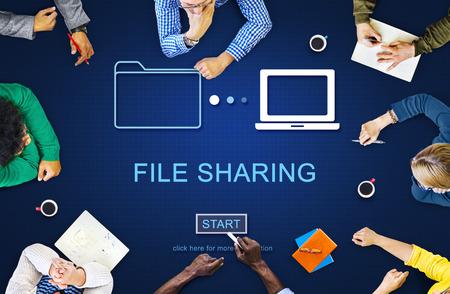 Fichier Concept Technologie Partage Internet Stockage social Banque d'images