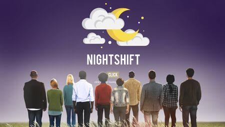 night shift: Nightshift Business Laptop People Time Work Concept