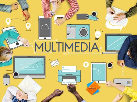 business lifestyle: Multimedia Communication Connection Technology Devices Concept Stock Photo