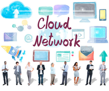 cloud network: Cloud Network Computing Digital Information Concept Stock Photo