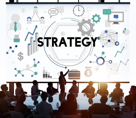 back lit: Strategy Tactics Vision Solution Process Concept Stock Photo