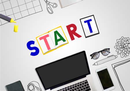 begin: Start Begin Open Motivation Ready Concept