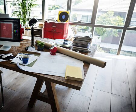 home office: Home Office Window Wooden Table Workplace Concept