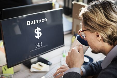 stabilize: Man checking his bank balance on computer concept