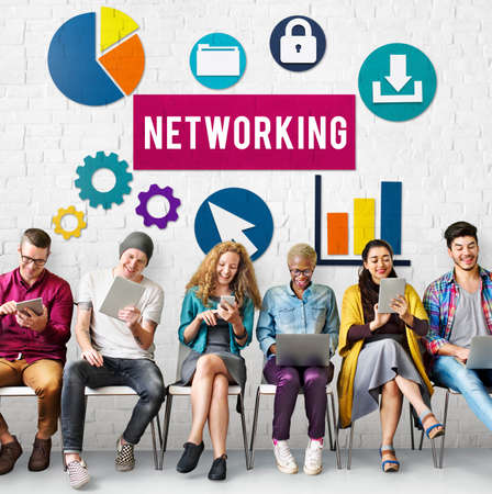 networked: Networking Network Internet Connection Concept Stock Photo