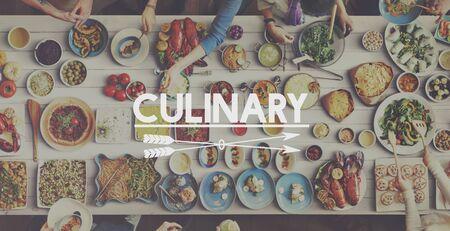 kulinarne: Żywności Kulinarne jeść posiłek Witamy Concept