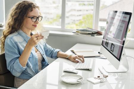 office work: Lady Girl Business Career Agenda Data Office Concept Stock Photo
