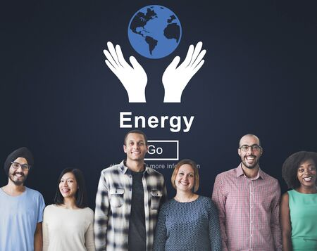asian friends: Energy Conservation Earth Planet Concept Stock Photo